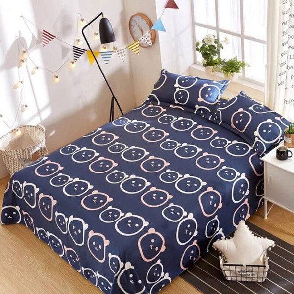 1pcs Polyester Bedclothes Single Double Flat Sheet Blue cartoon bedspread Cloud stripe bed Cover Four Seasons Bed Linens