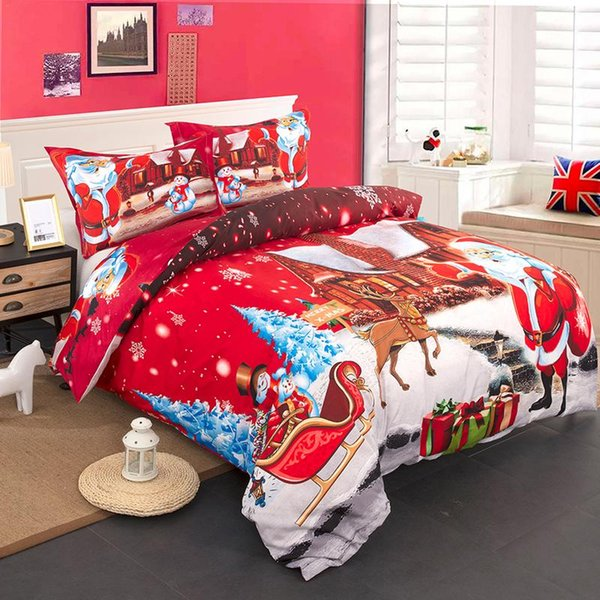 Festival Red Santa Cluse Cartoon Printed Christmas Noel Three-piece Suit Holiday Theme Bedroom Duvet Cover 2xPillow Case