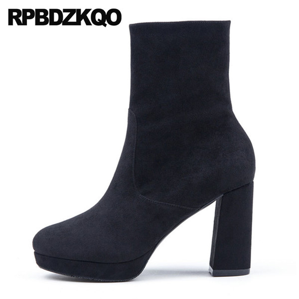 shoes fall autumn women boots winter 2018 elegant fur high heel black round toe ankle booties chunky short ladies designer suede