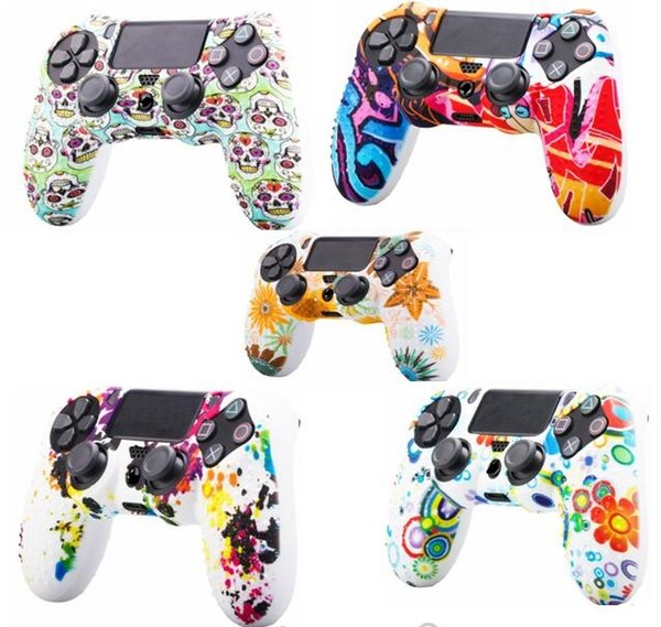 2019 new Camouflage Case Graffiti Studded Dots Silicone Rubber Gel Skin for Sony PS4 Slim/Pro Controller