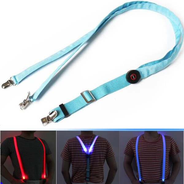 LED Suspenders 2.5*110CM luminous Suspenders Clip-on adult Elastic Adjustable Braces 3 Colors For men women Hallowmas Christmas gift