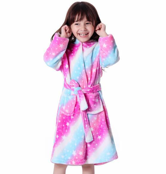 Children's pajamas parent-child models flannel adults and children with the animal cartoon cute cardigan bathrobes pajamas