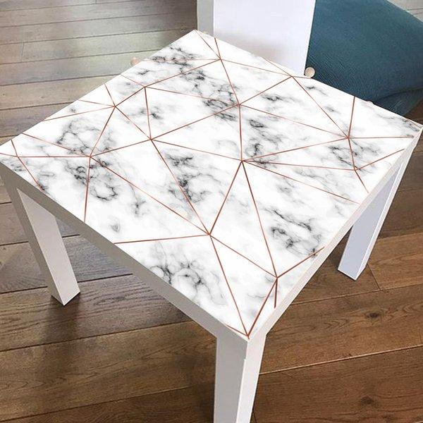 1 UNIDS 55 * 55 cm Marble Gold Polygon Line Tile Stickers Table Tops Extraíble autoadhesivo impermeable etiqueta de la pared