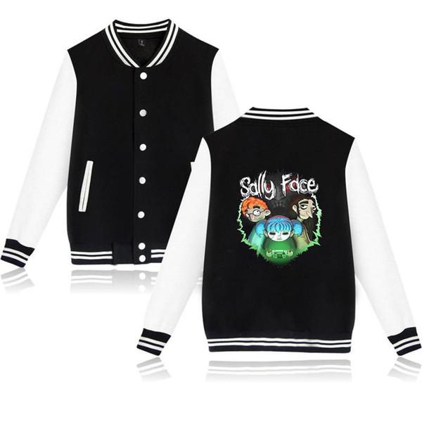 XXS-4XL Chaqueta de béisbol Sally Face Harajuku informal Sudadera Outwear Tres niños y letras impresas Streetwear