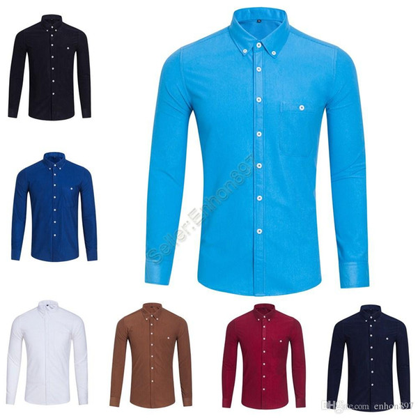 2019 Autumn Men's long sleeved Slim Fit Shirts Men POLO Shirts Fashion 100% Oxford Casual Shirt Small Horse Clothes MCS03