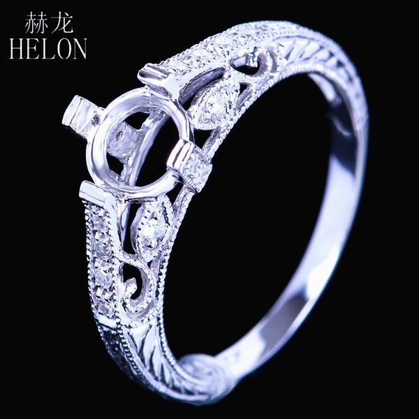 HELON 6mm Round Cut Solid 14k White Gold Pave Natural Diamonds Engagement Wedding Semi Mount Ring Women Vintage Fine Jewelry