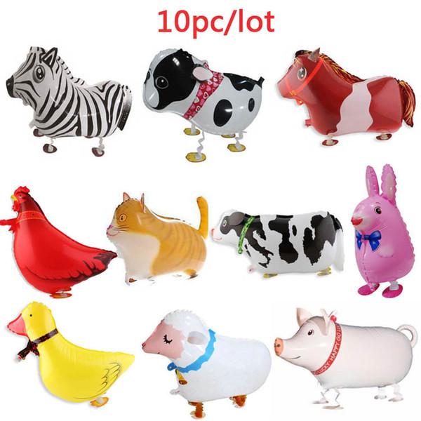 10pcs marche animaux de la ferme feuille ballons porc / chien / chat / mouton / sombre / vache / cheval / poulet / lapin / noël décoration de fête fête jouet