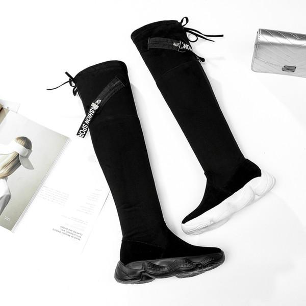 Acquista Stivali Invernali Donna Calzino Stivali Donna Sopra Il Ginocchio Nero Sneakers Piattaforma Tessuto Elasticizzato Scarpe Donna Donna A $48.12