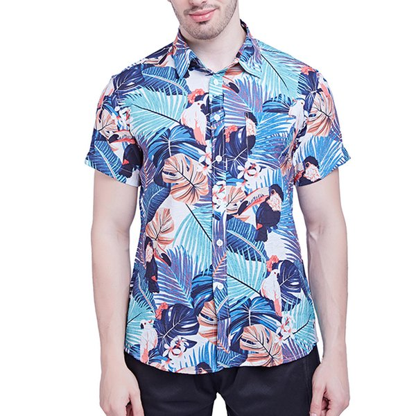 Men's New Short Sleeves Of Beach Wind Printing Fashion Cotton Short Sleeve Top