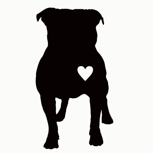 wholesale 20pcs/lot Cute Pitbull Heart Puppy Car Sticker For Truck Window Bumper Auto Door Laptop Kayak Vinyl Decal 13 Colors 14*7.6cm