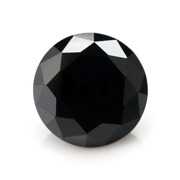 Hot sale Waxing machine cut Synthetic Black Round Shape Big size Cubic Zirconia stones loose gemstone for DIY jewelry making fake diamond