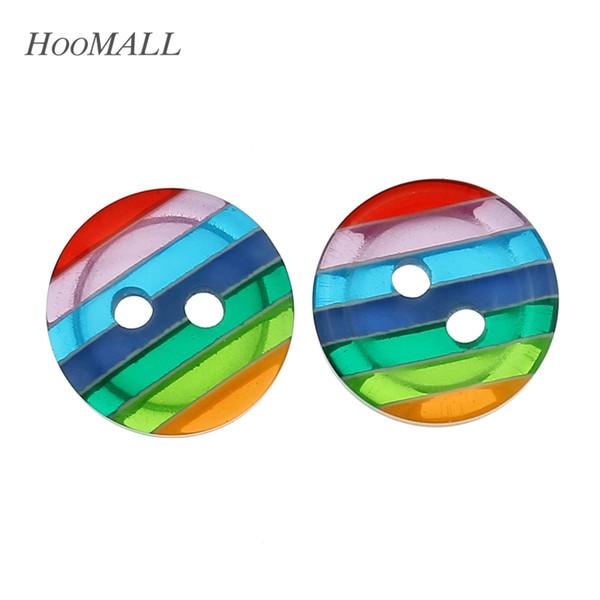 botones de 12 mm Hoomall 100PCs Ronda de resina Botones 2 ojales de costura de 12 mm (4/8 \