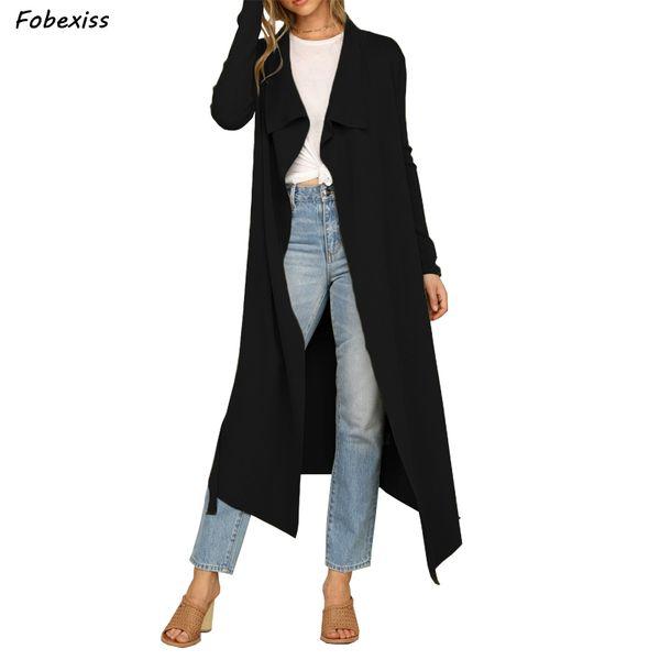 Automne 2019 Automne Mode New Trench Cardigan Casual Classique Vintage long manteau trench noir avec ceinture Chic Femme coupe-vent