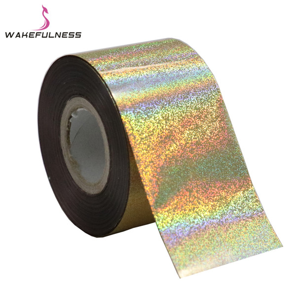 120M*4CM Laser Fine Sand Nail Foils Rainbow Decals Holo Nail Art Transfer Foil Stickers for Nail Charms Manicure Decorations