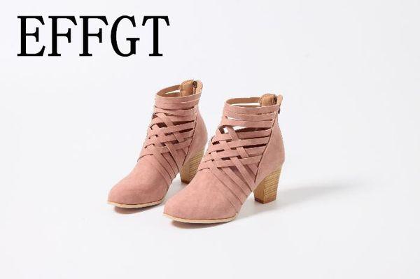 EFFGT 2019 Frühlingsfrauen kurze Stiefel aushöhlen hochhackige Ankle Booties Mode einzelne Frauen weibliche Stiefeletten B564