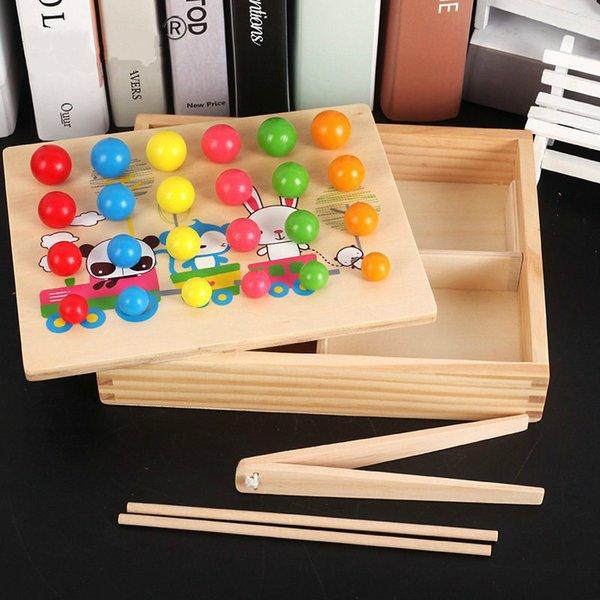 Juguetes de madera para niños divertidos Juguetes educativos tempranos Juego de cuentas de clip Juguetes de aprendizaje Montessori para niños