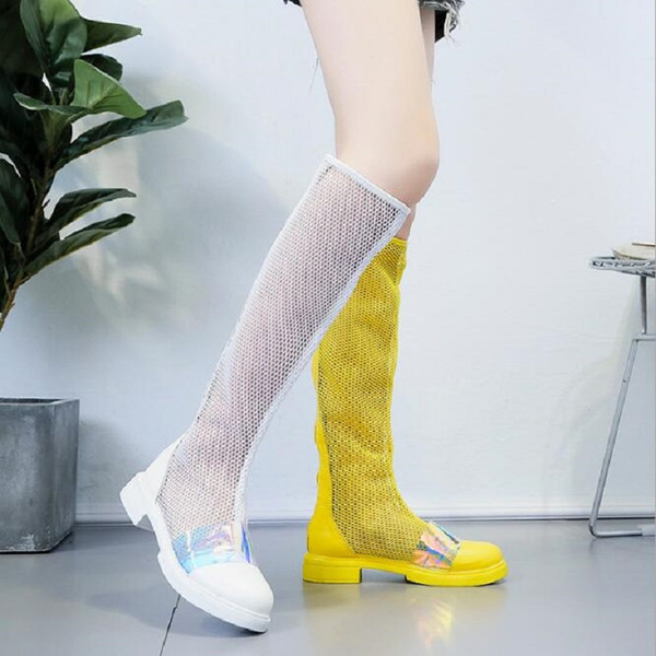 Women Summer Mesh Hollow Colorful Bling Knee High Knight Boots Long Boots Cut Out Low Heels Antiskid Soles Lady Shoes 190429
