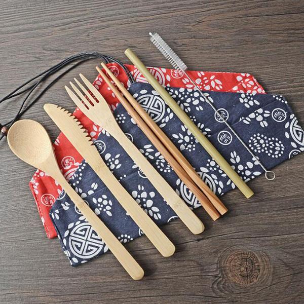 Cuchillo portátil Picnic Natural Cuchara de paja reutilizable Tenedor Palillo Utensilio de cocina Juego de cubiertos de bambú al por mayor ZC0561
