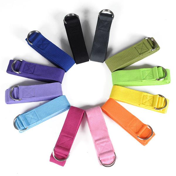 top popular 183cm Yoga fitness resistance bands Yoga stripes Belts Stretch Strap D-Ring Belt Waist Leg Gym Rope Yoga loop Belt 5 Colors ZZA260 2020