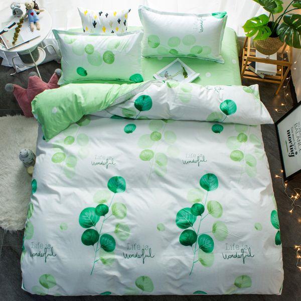 2018 Spring bedding set green duvet cover bed set geometric flat sheet reindeer bedclothes 4pcs bed linenset Nordic home textile