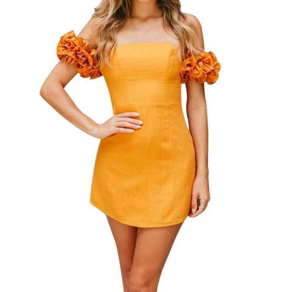 Women Summer dress Fashion sexy girl A-line Solid Mini Dress Ladies elegant Off-the-shoulder collar dresses vestidos de festa