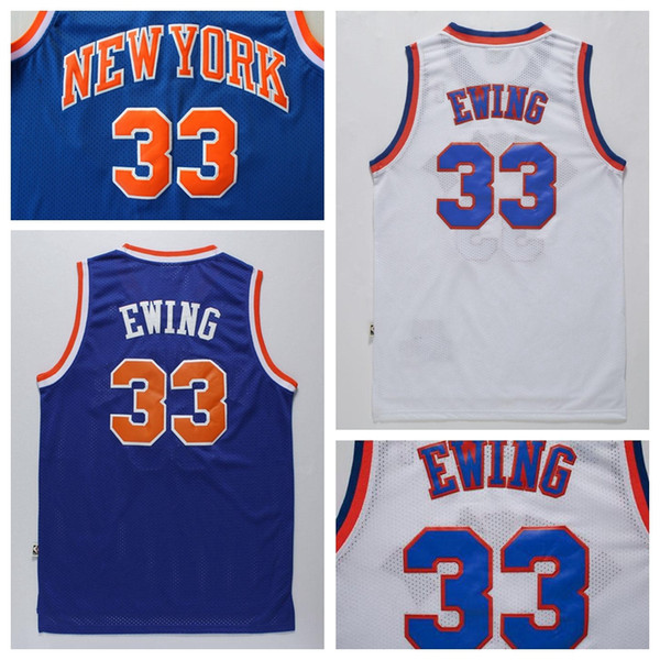 top popular Top Quality Men's #33 Patrick Ewing Jersey Blue White Cheap Patrick Ewing Shirts Stitched Free Shipping 2019