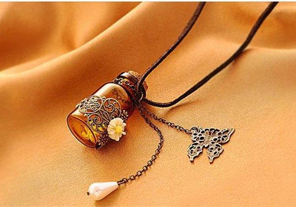 Bouteille en verre Aromathérapie Huile Essentielle Diffuseur Collier Médaillon Pendentif bijoux avec 24