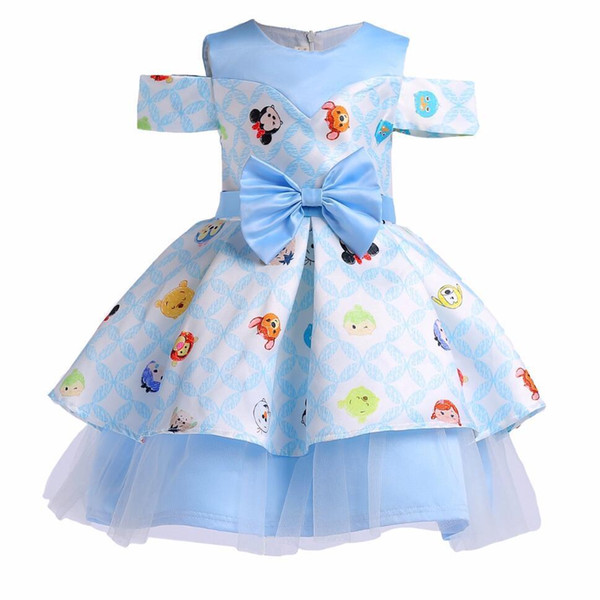 2019 Summer Baby girl dresses Kids Wedding Cartoon Printed Shoulder Infant Party Dresses For Girls Princess Dress