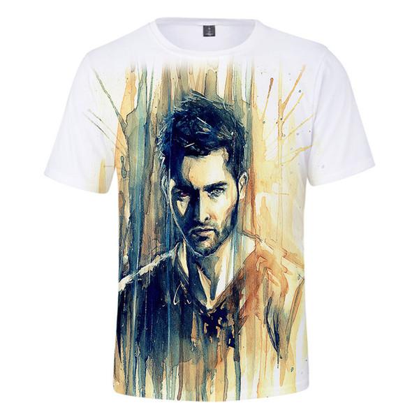 Derekhale Mens 3D Imprimer T-shirts Col Rond À Manches Courtes De La Mode Homme Tees Quelques Vêtements Teen Wolf