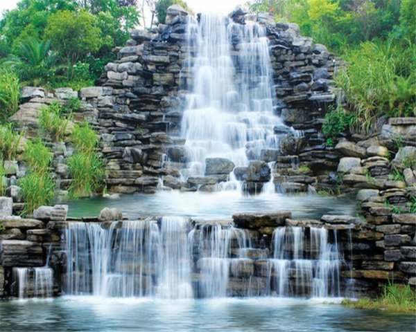 Beibehang 3D photo Wallpaper Waterfalls Landscape Landscapes Background Wall paintings Decorative Wallpapers for walls 3D