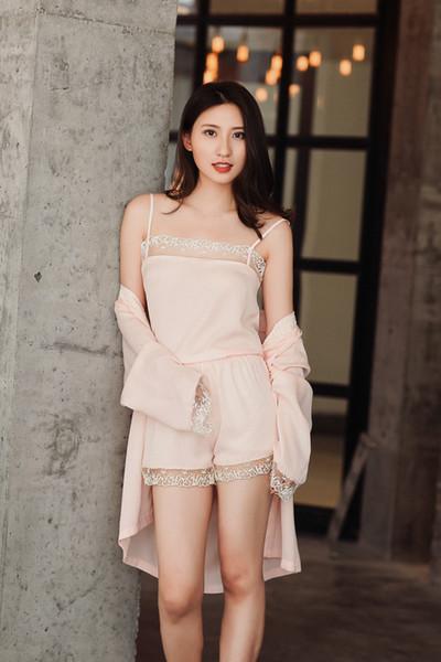 Summer Silk Sleepwear Spaghetti 3 Piece Pajama Set Women Bathrobe Sexy Lace Nightwear Home Clothes For Ladies Female