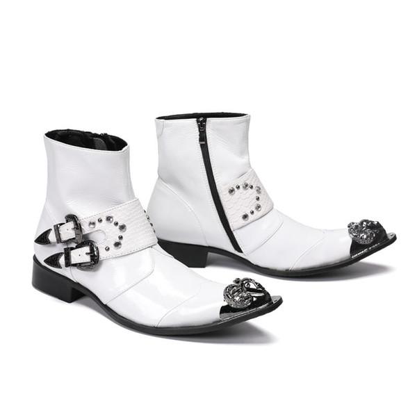Moda 2019 Projeto Homens De Couro Genuíno Botas de Tornozelo Crocodilo Padrão Lace Up Sapatos de Vestido Branco Botas Básicas Homem