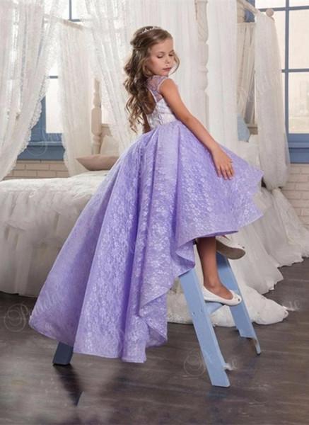 Vestido de un primer interlocutor muchacha de la comunión púrpura sin mangas de tul púrpura de la flor de lujo Gi vestido de princesa vestido de fiesta de cumpleaños de las niñas