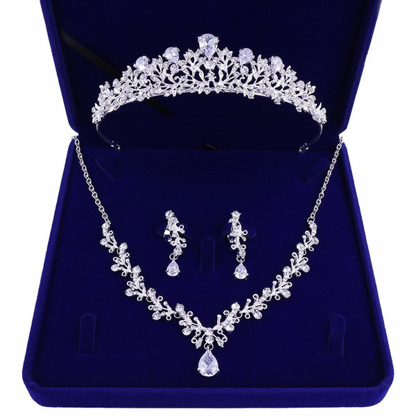 High-quality new bride crown tiara three-piece zircon necklace earrings princess birthday wedding with female accessories gift