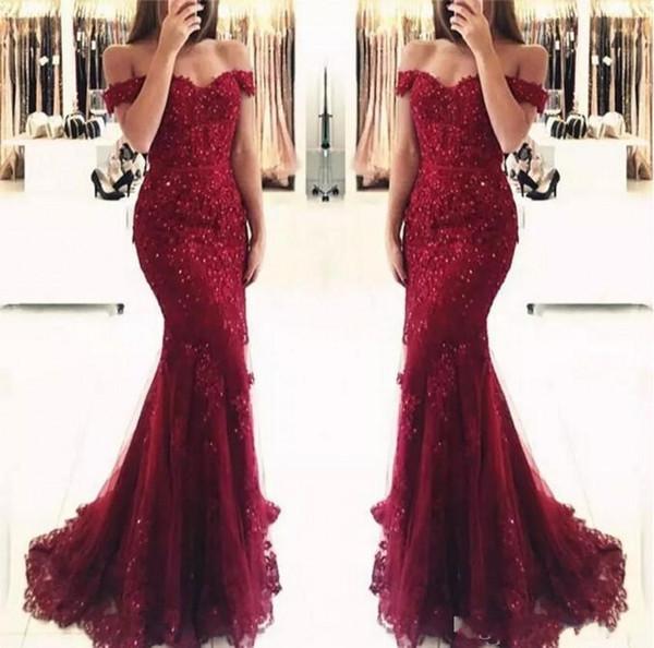 top popular Elegant Burgundy Off the Shoulder Beaded Lace Mermaid Prom Dresses 2019 Short Sleeves Floor Length Formal Evening Gowns Vestido de Fiesta 2020