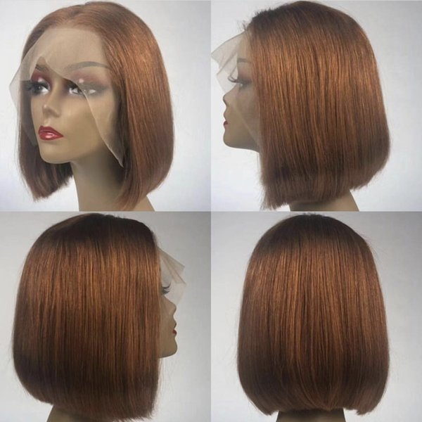 Silk Base Lace Front Human Hair Wigs For Black Women Remy Hair Straight Short Bob Silk Top Wigs With Baby Hair