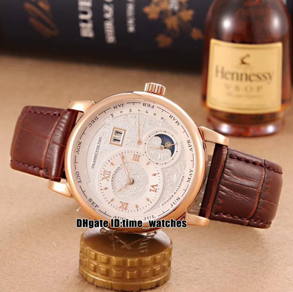 NEW 192.029/192.032 Rose gold case Moon Phase Mens Automatic Watch white dial black leather strap high quality Gents sport watches