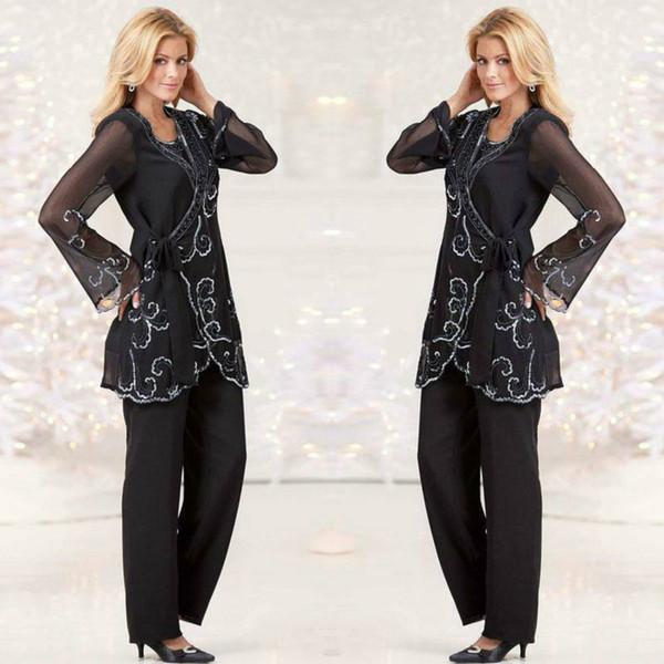 Mousseline de soie noire mère des costumes de pantalon de mariée avec veste col de bijou élégantes mères robes robes longueur de soirée robes de soirée en dentelle