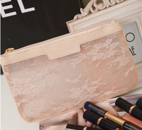 Wholesale pink lace Cosmetic free shipping Travel Makeup Bag/Beautiful high quality cosmetic bag/cosmetic pouch