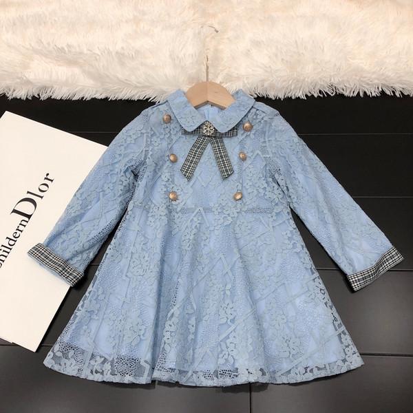Kleidungskleid scherzt Entwerferplaidherbstspitzekleid-Stulpen Mädchen, die Baumwollkleidart und weise süße Größe 100-150cm neues Bestes zeichnen