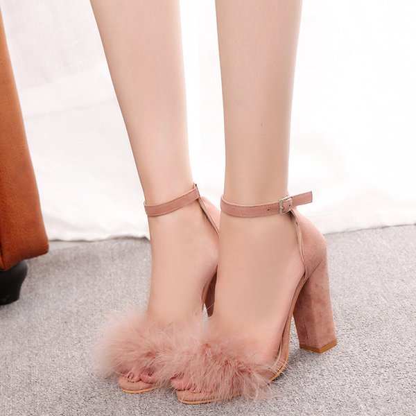 Mode cheville Strap femmes Casual Nu-pieds Toe talon haut d'été Chaussures Boucle Mesdames Sandálias Chaussures