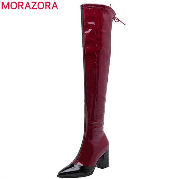 MORAZORA 2020 sexy sobre a coxa do joelho botas altas mulheres zip pontas do dedo do pé de outono mulher alta sapatos de saltos botas longas grande tamanho 48