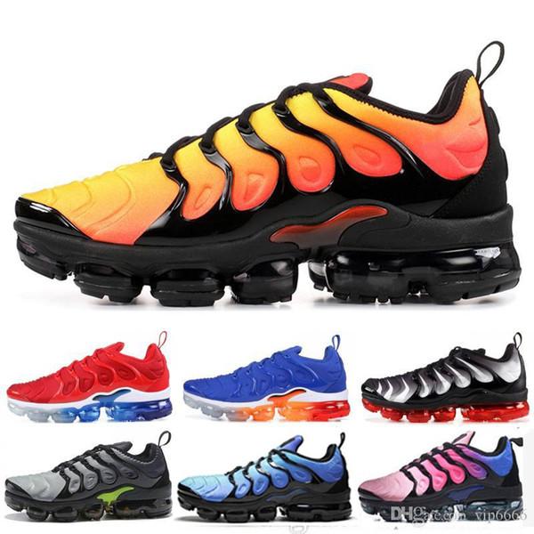 2019 TN Plus Men Running Shoes Triplo Preto Branco Pôr Do Sol Foto Azul Lobo Cinza EUA Sapatos de Grife Esporte Tênis 36-45
