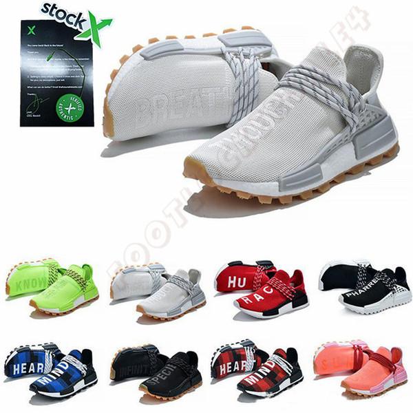 Kutu Stok X Serin Gri Nefes 2019 Ile Insan Yarışı Koşu Ayakkabıları Moda Pharrell Williams HU Rahat Spor Sneakers Eğitmenler 36-47