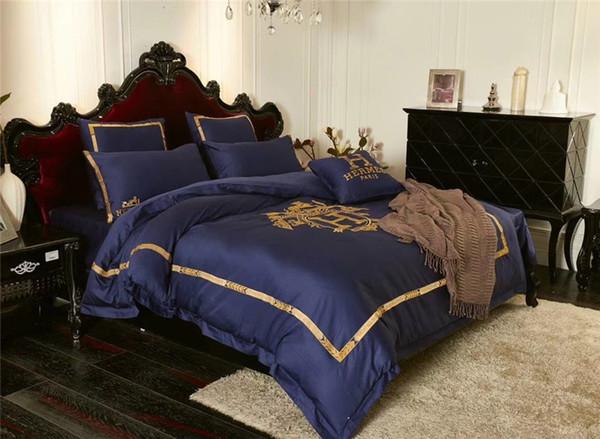 Вышивка Темно-синий Постельное белье с принтом 60 шт. Постельное белье из хлопка оранжевого цвета с буквами в полоску