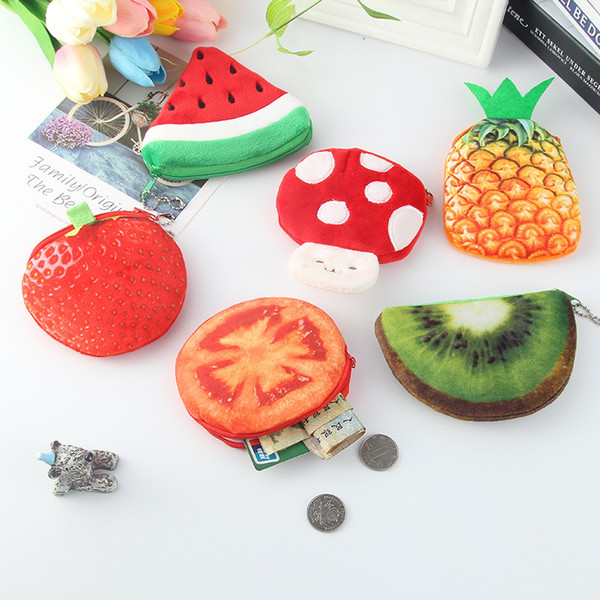 LYTOO 18 Designs Cute Cartoon Plush Coin Purses for Kids Vegetable Fruit Shaped Small Wallet Money Organizer Bag Children Students Gifts