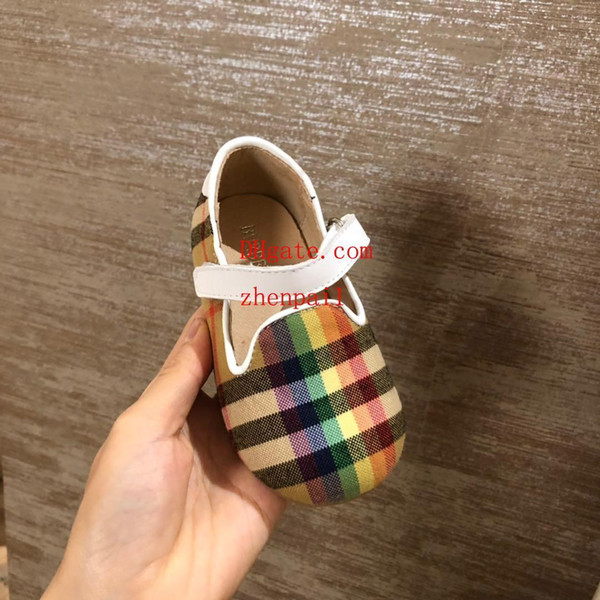 Toddler girl sandals summer Princess Shoes Bow embroidery Plaid printing big kids shoes Girls Sandals Baotou kids ballet baby shoes bb8