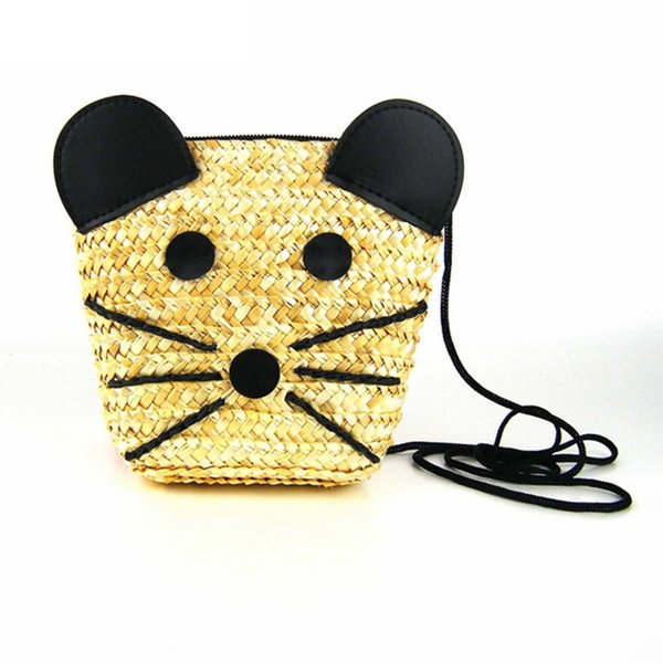 Cheap Hot Bags For Women 2018 Hand Made Cute Cat Pattern Straw Bag Durable Environmental Messenger Bag Primary Color Shoulder Bag