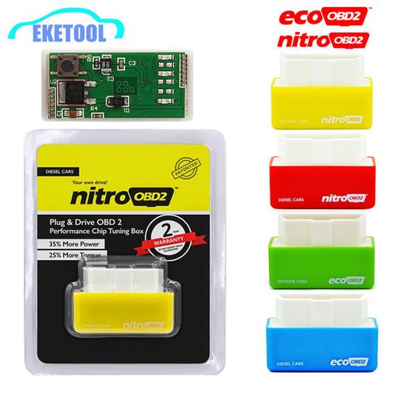 1pc NitroOBD EcoOBD Benzine Diesel Voitures ECU Boîtier de réglage de puce Eco OBD2 Enregistrer Fule Nitro OBD2 Plus Puissance Couple PlugDriver