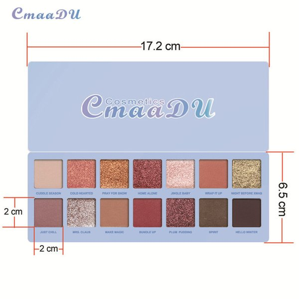 DHL Free Quality Eyeshadow 14 colores Nude Shining Eye Palette Impermeable Smoky Eye Shadow Hot Pallete CMAADU Chill Baby Cosmetics Make Up